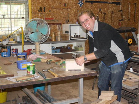 A happy chappy working on a project